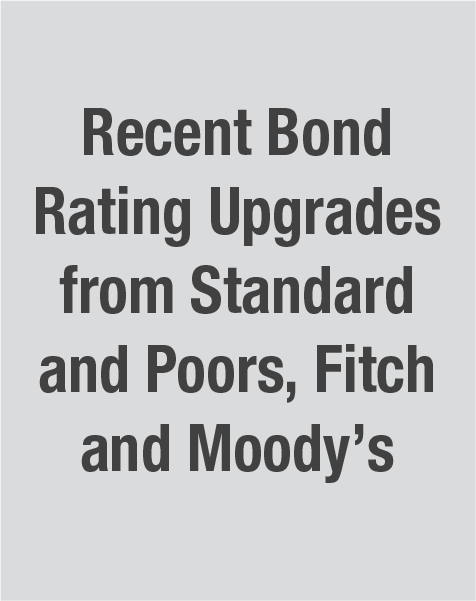 Recent Bond Rating Upgrades from Standard and Poors, Fitch and Moody's